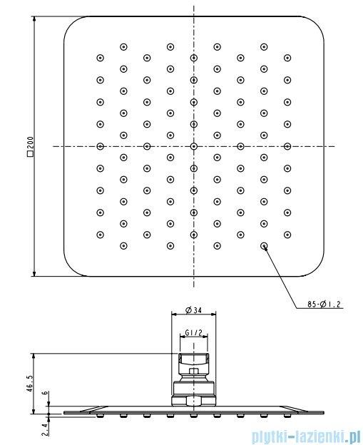 Omnires Ultra Slimline deszczownica ze stali nierdzewnej 20x20cm chrom WGU220