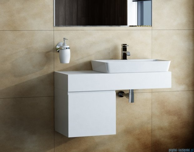 Antado Combi szafka lewa z blatem biała/jasne drewno ALT-141/45-L-WS/dn+ALT-B-1000x450x150-WS