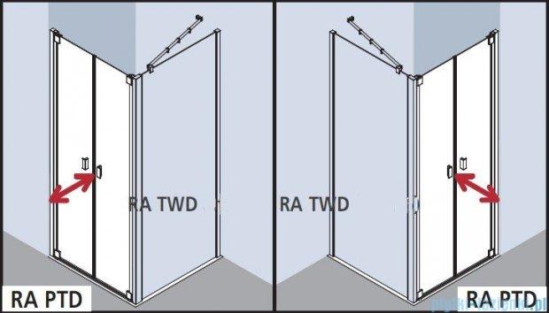 Kermi Raya Drzwi wahadłowe, 2-skrzydłowe, szkło przezroczyste, profile srebrne 100x200 RAPTD10020VAK