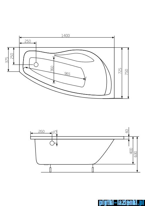 Roca Nicole wanna 140x75cm prawa z hydromasażem Smart WaterAir Plus A24T117000
