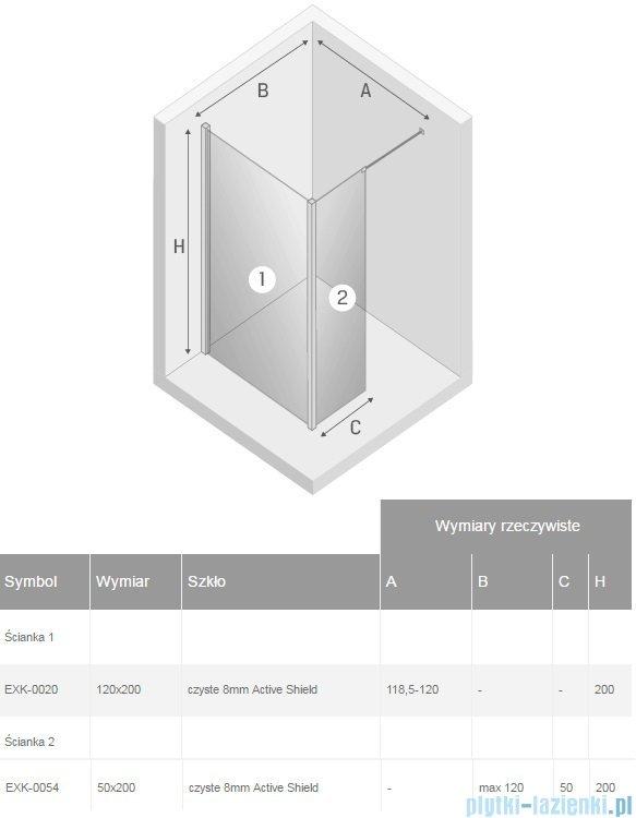 New Trendy New Modus kabina Walk-In 120x50x200 cm przejrzyste EXK-0020/EXK-0054
