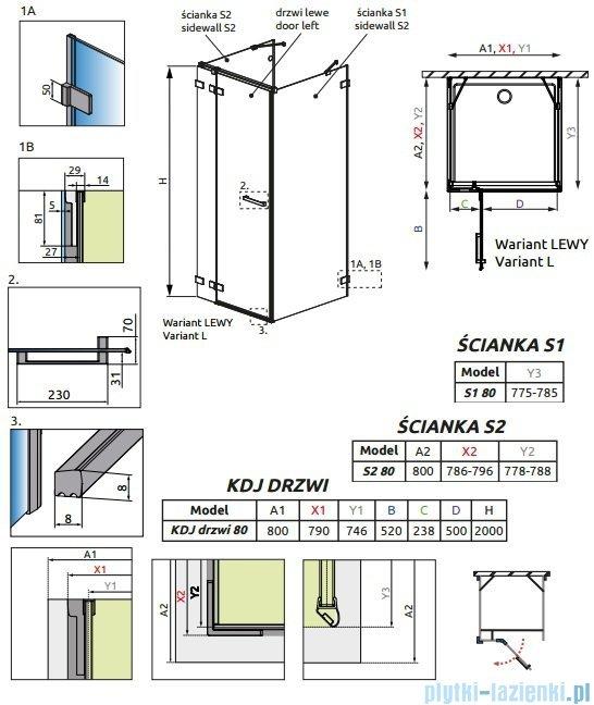 Radaway Euphoria KDJ+S Kabina przyścienna 80x80x80 lewa szkło przejrzyste 383021-01L/383051-01/383031-01