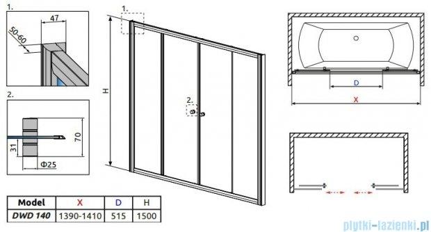 Radaway Vesta DWD Drzwi przesuwne 140 cm szkło fabric 203140-06
