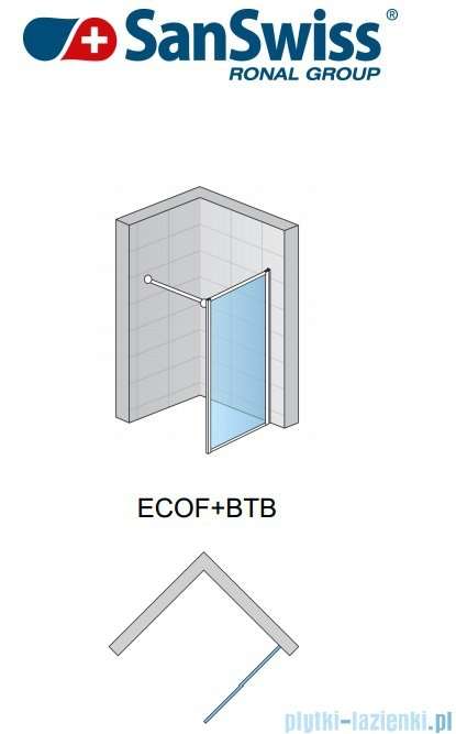 SanSwiss Eco-Line Ścianka boczna Ecof 90cm profil połysk szkło przejrzyste ECOF09005007