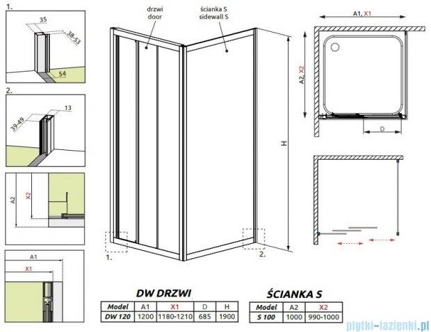 Radaway Treviso DW+S kabina 120x100 szkło fabric 32333-01-06N/32423-01-06N