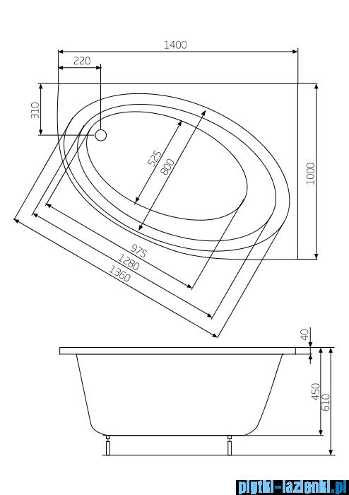 Roca Orbita wanna asymetryczna 140x100 cm prawa A24T193000