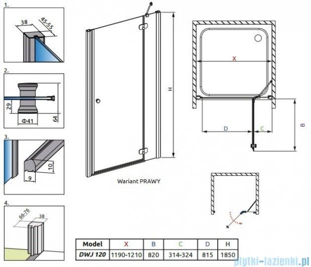 Radaway Torrenta DWJ drzwi wnękowe 120 prawe szkło przejrzyste 32030-01-01N