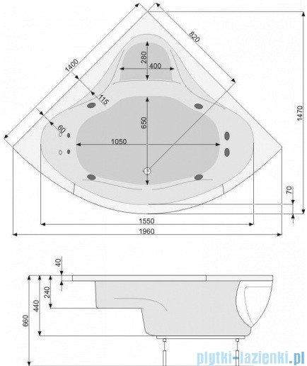 Poolspa Wanna symetryczna FRANCJA 140x140 + nogi PWS3210ZN000000