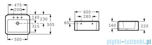 Roca Element Umywalka 60x50,5cm z otworem na baterie biała A327571000