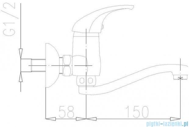 KFA BARYT Bateria umywalkowo-zlewozmywakowa ścienna dł. wylotu 150 mm chrom 550-810-00