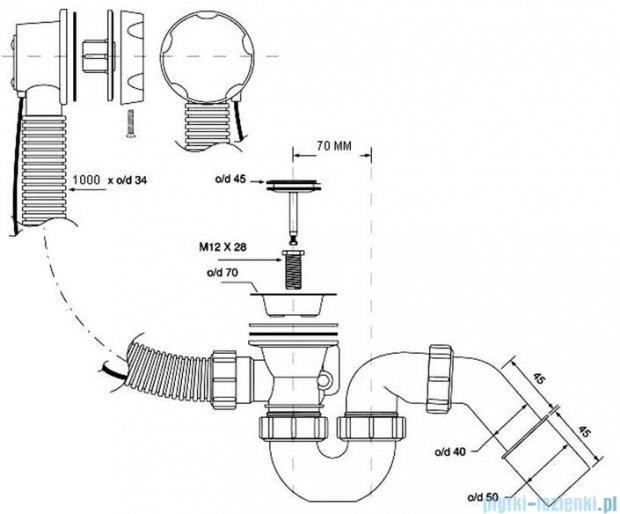 McAlpine syfon wannowy z korkiem automatycznym kolorze białym HC31M-WH-1M