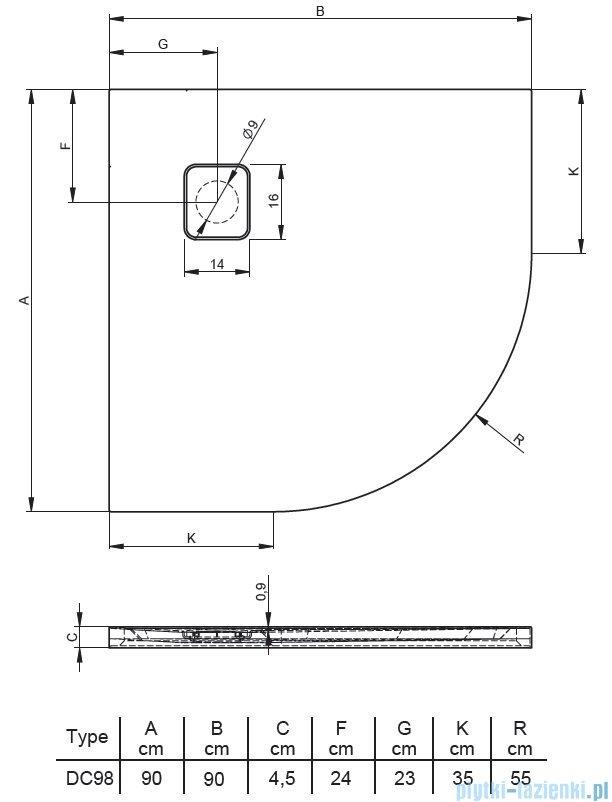 Riho Basel 451 brodzik półokrągły czarny mat 90x90x4,5cm DC9817