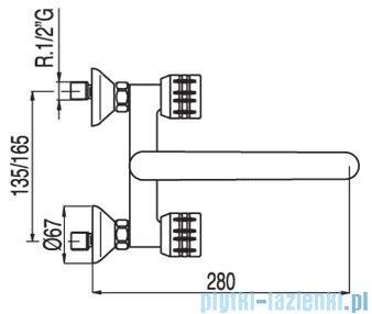 Tres Ese-23 Bateria zlewozmywakowa ścienna kolor chrom 1.23.317