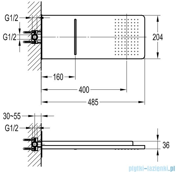 Omnires deszczownica mosiężna kaskadowa 2-funkcyjna chrom WG510