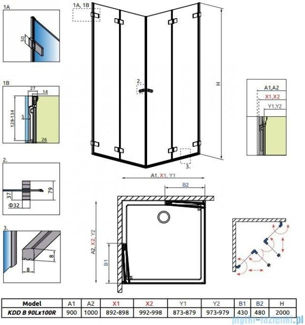 Radaway Arta Kdd B kabina 90x100cm szkło przejrzyste 386161-03-01L/386162-03-01R
