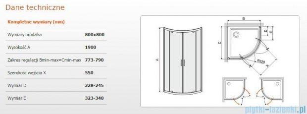 Sanplast kabina półokrągła narożna KP2DJ/TX5-80 szkło przezroczyste 600-271-0420-38-401
