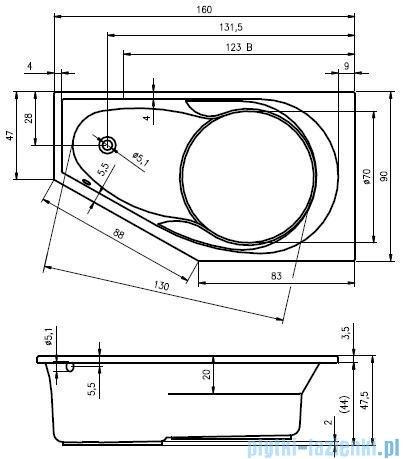 Riho Yukon wanna asymetryczna 160x90 lewa + nóżki + syfon BA35/09/AMC55