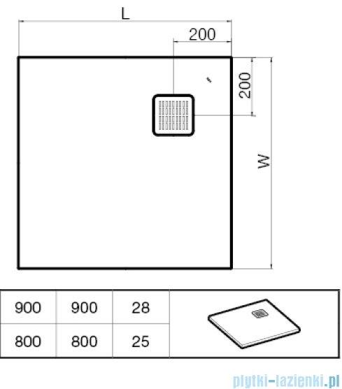 Roca Terran 80x80cm brodzik kwadratowy konglomeratowy arena AP0332032001510