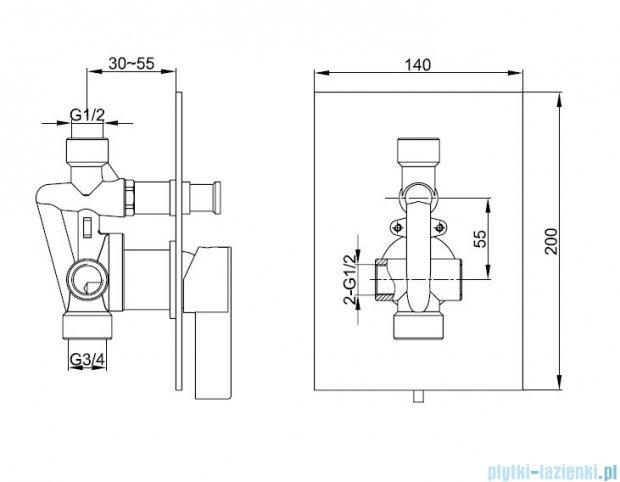 Kohlman Dexame Podtynkowa bateria wannowo-prysznicowa QW210D