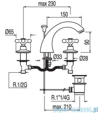 Tres Clasic-Tres Bateria umywalkowa Ceramiczna z korkiem automatycznym 1.37.106