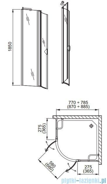 Aquaform Glass 5 kabina prysznicowa półokrągła 80cm szkło przejrzyste profil chrom 06360