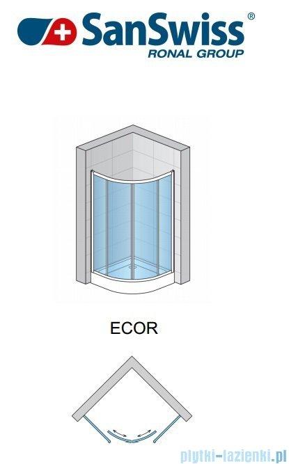 SanSwiss Eco-Line Kabina półokrągła Ecor 100cm profil srebrny szkło przezroczyste ECOR501000107