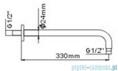 Omnires ramię ścienne deszczownicy L=330mm chrom RA01