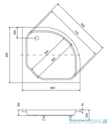 Sea Horse Sigma zestaw kabina natryskowa półokrągła - niska, 80x80 grafitowe + brodzik BKZ1/3/KG