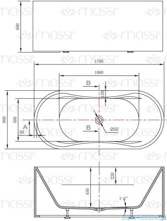 Massi Giro wanna wolnostojąca 170x80 cm biała MSWA6808