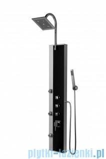 Novoterm Kerra Panel natryskowy Black Pearl aluminium + szkło 146x22 cm