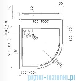Schedpol Axel brodzik półokrągły z klapką odpływu 100x100x5cm R55 3.4216