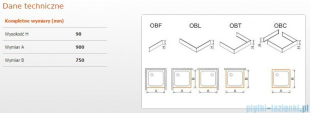 Sanplast Obudowa brodzika OBL 75x90x9 cm 625-400-1220-01-000