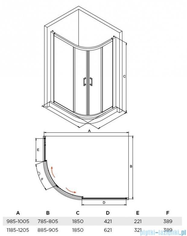 Besco Modern kabina asymetryczna 100x80x185cm przejrzyste MA-100-80-C