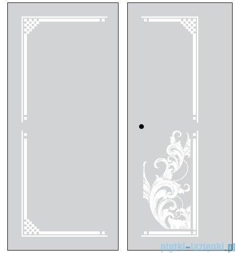 Kerasan Retro Kabina prostokątna prawa szkło dekoracyjne piaskowane profile brązowy 80x96 9144P3
