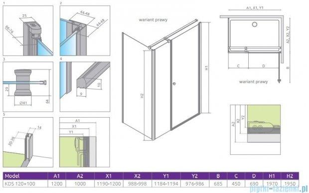 Radaway Eos KDS kabina prysznicowa 120x100 prawa szkło przejrzyste 37555-01-01NR