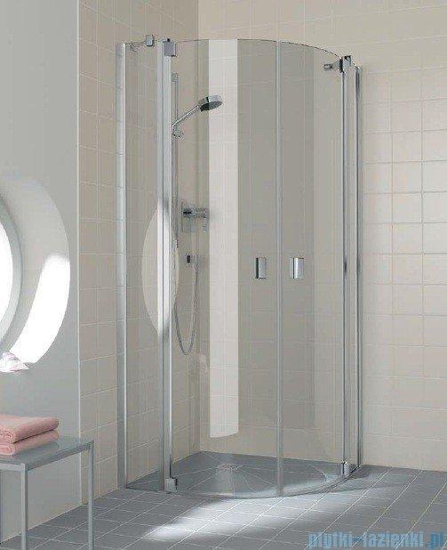 Kermi Raya Kabina ćwierćkolista, drzwi wahadłowe, szkło przezroczyste KermiClean, profile srebrne 80x80x200 RAP5008020VPK