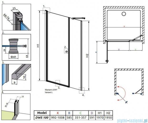 Eos DWS Radaway Drzwi wnękowe 100 lewe szkło przejrzyste 37990-01-01NL