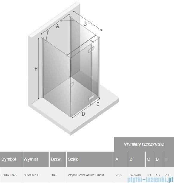 New Trendy Reflexa 80x90x200 cm kabina trójścienna prawa przejrzyste EXK-1248