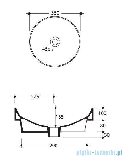 Kerasan Cento Umywalka okrągła wolno stojąca 35 cm- 3558