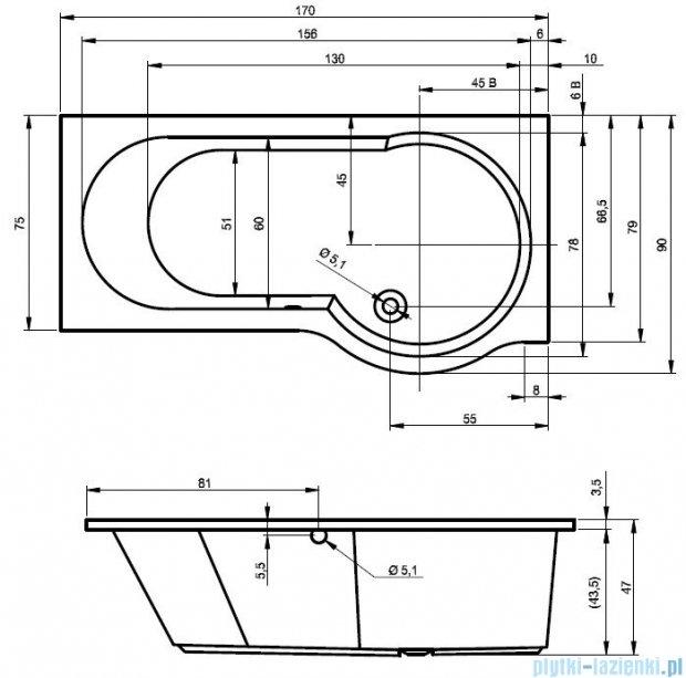 Riho Dorado Wanna asymetryczna 170x75 lewa z hydromasażem TOP Hydro 4+4+2/Aero12 BA81T5