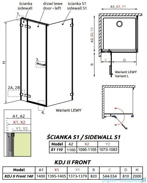 Radaway Arta Kdj II kabina 140x110cm lewa szkło przejrzyste 386457-03-01L/386046-03-01L/386023-03-01