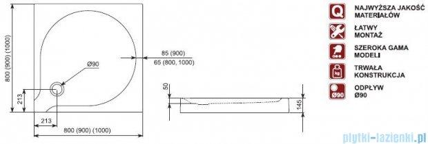 Aquaform Delta brodzik kwadratowy płytki ze zintegrowaną obudową  80x80x14,5cm 06910