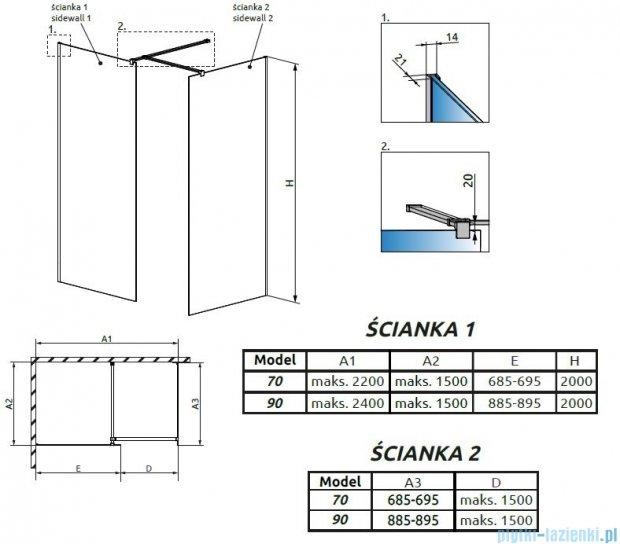 Radaway Modo New III kabina Walk-in 90x70x200 szkło przejrzyste 389094-01-01/389074-01-01/389000-01