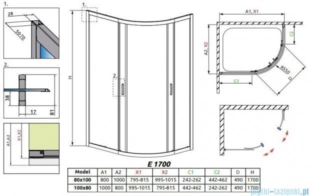 Radaway Premium Plus E Kabina półokrągła z drzwiami przesuwnymi 100x80cm szkło fabric 30481-01-06N