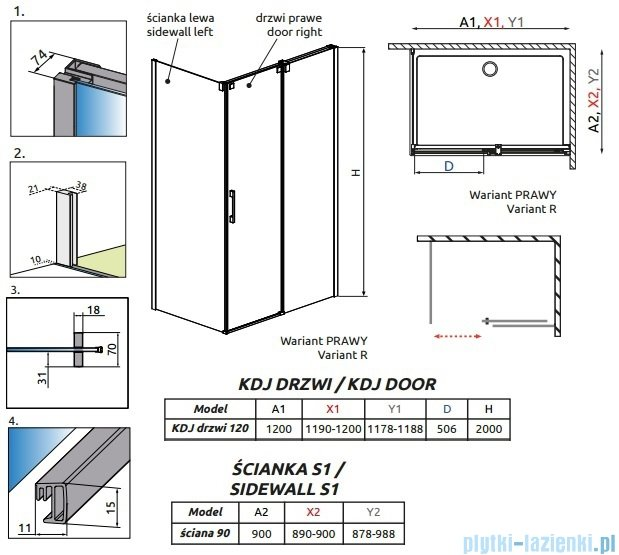 Radaway Espera KDJ kabina prysznicowa 120x90 prawa szkło przejrzyste 380132-01R/380149-01L