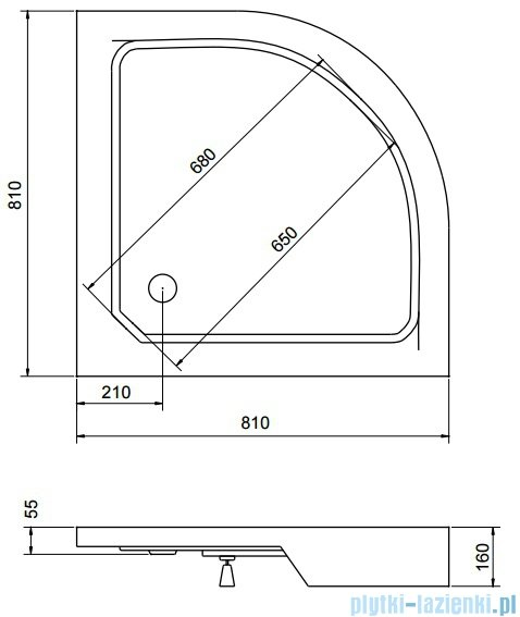Sea Horse Sigma zestaw kabina natryskowa półokrągła, 80x80 przejrzyste + brodzik BKZ1/1/R
