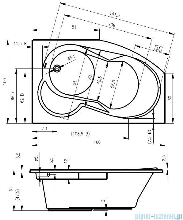 Riho Nora wanna asymetryczna lewa 160x100 z hydromasażem TOP Hydro 6+4+2 BA75T2