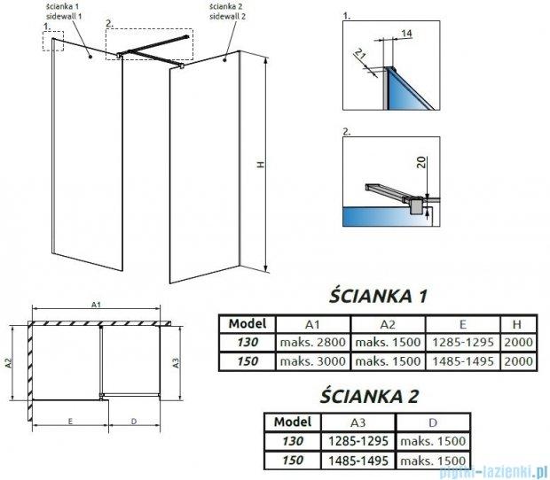Radaway Modo New III kabina Walk-in 150x130x200 szkło przejrzyste 389154-01-01/389134-01-01/389000-01