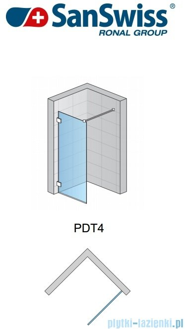 SanSwiss Pur PDT4P Ścianka wolnostojąca 100-160cm profil chrom szkło Efekt lustrzany PDT4PSM41053