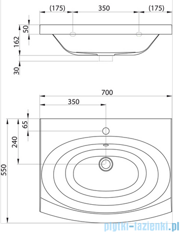 Ravak Umywalka Evolution 70x55 cm z otworami XJE01100000